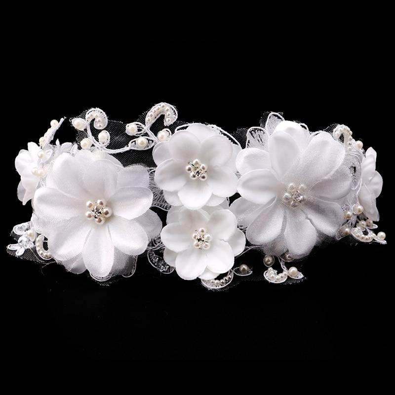 Bijeli čipkasti cvjetovi Kristalna biserna traka za glavu Glava u - Modni nakit - Foto 2