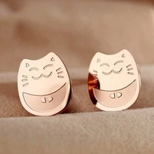 YUUN RUO Fortune Cat Korean Earring Fashion Woman Jewelry Titanium Steel Rose Gold Color Valentine Gift Free Shipping Not Fade