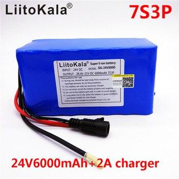 HK LiitoKala 24 v 6Ah 7S3P 18650 Batterij Li Ion batterij 29.4 v 6000 mah elektrische fiets bromfiets/elektrische-in Batterij pack van Consumentenelektronica op