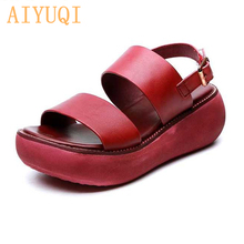 AIYUQI Womens sandals retro 2019 new summer women genuine leather platform wedge casual footwear red shoes for