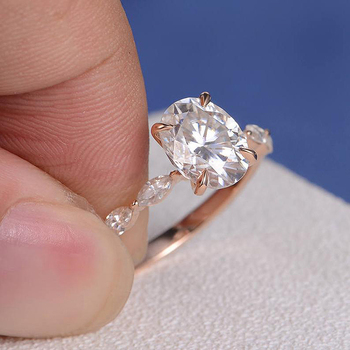 18K Rose Gold 1ct DF Color Engagement Ring Oval Cut Moissanite Marquise Eternity Band Wedding Bridal Ring For Women Ring 3