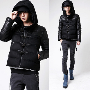 2012 male wadded jacket wool slim cotton-padded jacket patchwork men's clothing thin wadded jacket nick coat outerwear