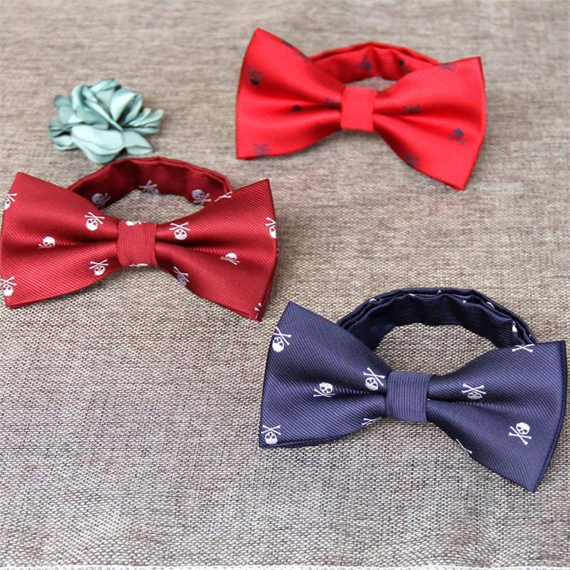 Men's Polyester Silk Thin Bow Ties For Men Skull Bowtie Bowknot Wedding Groom Bowtie Gravata Slim Collar Cravat