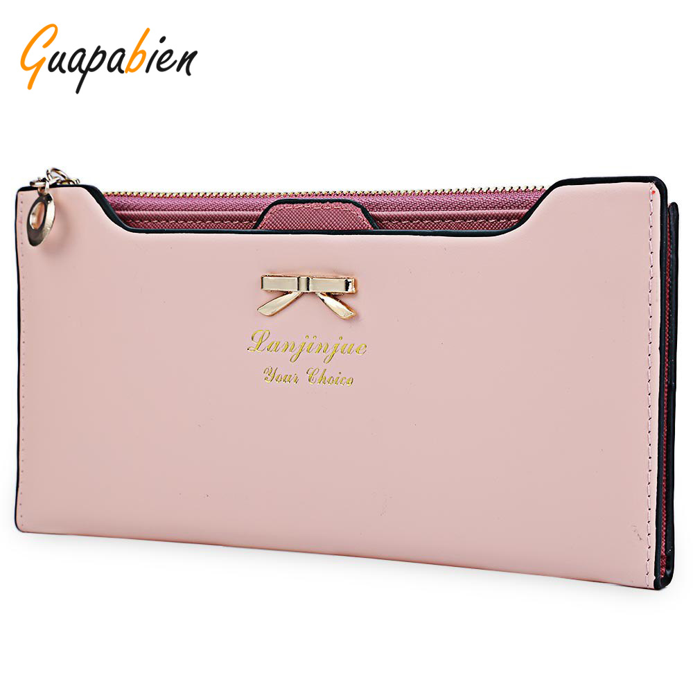 Guapabien Women Purse Long Bow Wallets Candy Color Wallet PU Thin Card Holders Purse Female Carteira Feminina Portefeuille Femme candy leather clutch bag women long wallets famous brands ladies coin purse wallet female card phone holders carteira feminina