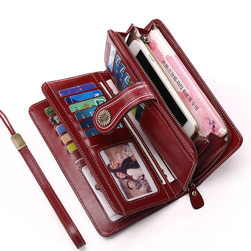 Stor Kapacitet Split Läder Kort Hållare Kvalitet Plånbok Långa - Plånböcker - Foto 2