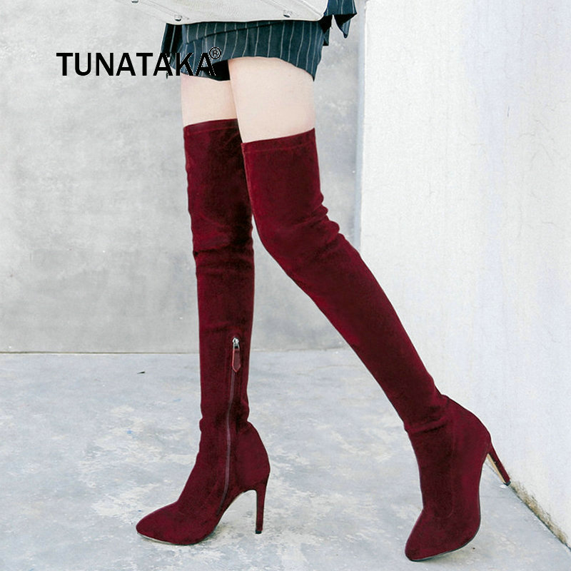 Suede Thin High Heel Zipper Woman Over The Knee Boots Pointed Toe Winter Stretch Boots Fashion Ladies Thigh Boots Black