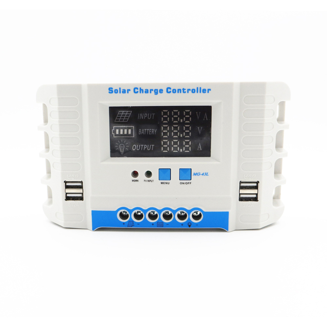 10A/20A/30A/40A/50A/60A 24V 12V Auto Solar Panel Battery Charge Controller PWM LCD Display Solar Collector Regulator USB two