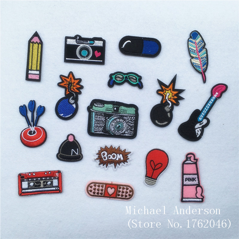 1Pc Feather Camera Bomb Hat Embroidered Patch Iron On Sewing Applique for Jacket Clothes Badge Stickers DIY Apparel Accessories