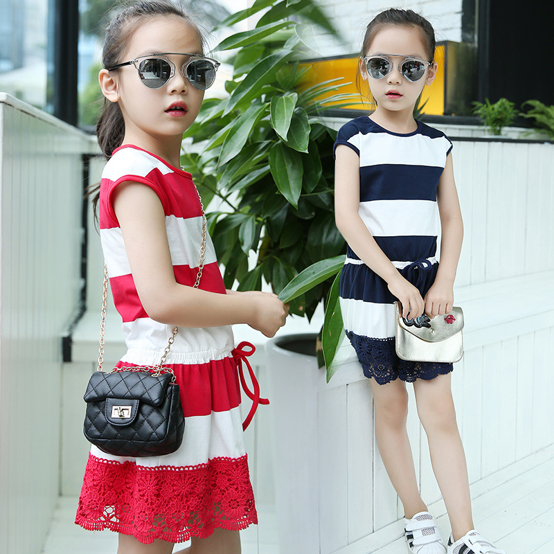Kids Girls Striped Dresses Summer 2018 Children Clothing Girls Cotton Dress with Lace for Girls Jersey Dress Vestidos Red Blue high quality casual cotton striped dress for girls teenagers kids summer sleeveless soft vest vestidos children costume