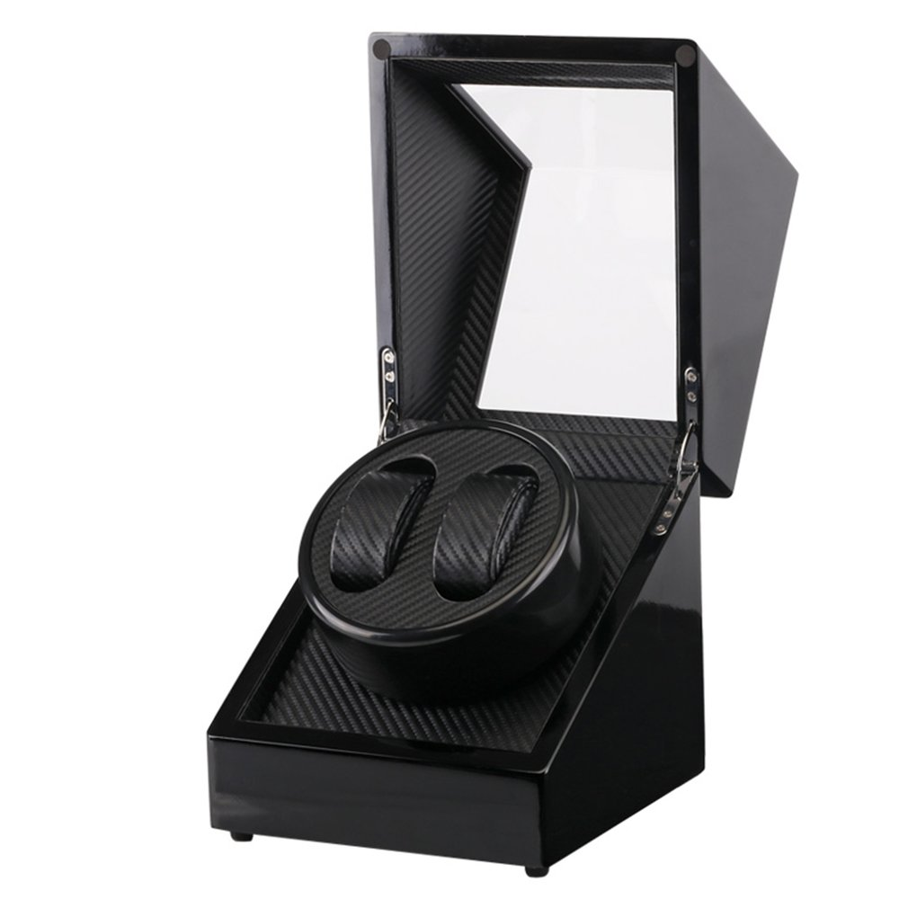 US Plug en bois Auto montre remontoir en Fiber de carbone Double montre remontoir boîte silencieux moteur stockage vitrine pour montres boîte