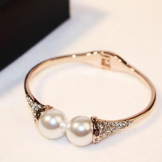 8be431580e4 Rose Gold Color Acrylic Pearl Cuff Bracelets With Rhinestones New Style  Womens Bracelet Jewelry Fashion 2016/Pulsera Mujer Moda