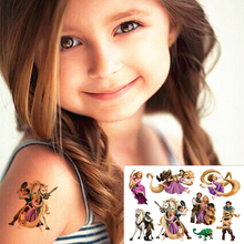 25 style Child Temporary Tattoo Body Art, Tangled Princess Designs, Flash Tattoo Sticker Keep 3-5 days Waterproof 17*10cm
