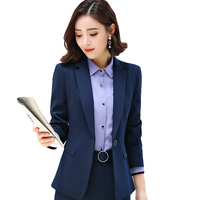 Fashion Blue Gray Black Women Blazer New Spring Formal Business Slim Long Sleeve Jacket Office Ladies Plus Size Work Coat CM1198