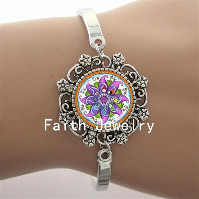 in buddhist zen silver on glass om symbol gifts cabochon accessories bracelet jewelry jewellery item bracelets yoga plated women from charm mandala