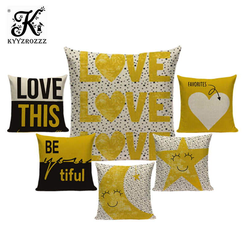 Mustard Yellow Cushion Cover 45 45 Cushions Home Cafe Decor Custom Pillow Cover Alphabet Style Outdoor Cushions Dropshipping