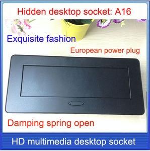 Image 3 - EU plug Tabletop socket /hidden/ Damping spring open Information outlet  /Office conference room High grade desktop socket  /A16