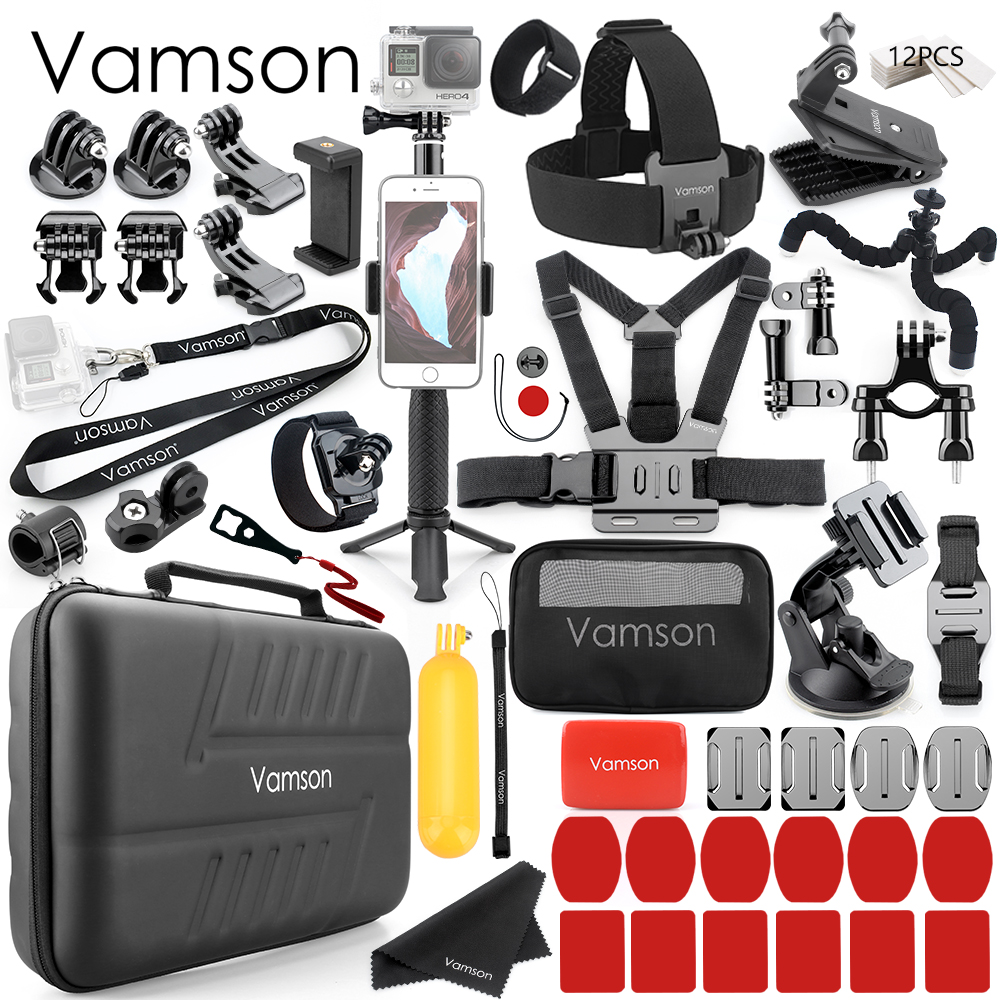 Vamson for DJI OSMO Action Camera Accessories Set for Gopro Hero 8 7 Black /6/5/4 for xiaomi yi 4k Waterproof Carrying Case VS87-in Sports Camcorder Cases from Consumer Electronics