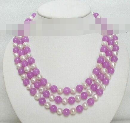 1665 chaîne violet jade blanc collier de perles