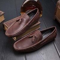Wiosna i lato peas buty męskie skórzane miękkie bielizna Anglia stóp buty męskie jazdy leniwy buty nowe dzikie retro R118