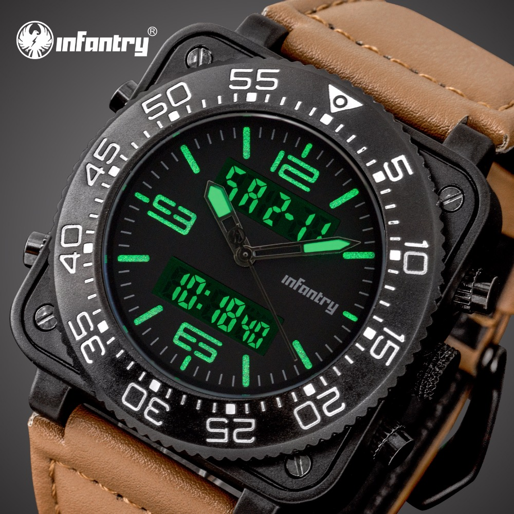 INFANTRY Mens Watches Top Brand Luxury Stopwatch Square Tactical Army Leather Watch for Men Analog Digital Military Watch Men image