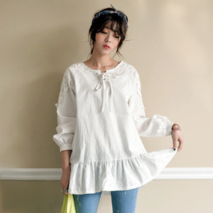 Woman blouse 2018 spring summer lace-up tops ladies sweet ruffle peplum bottom mori girl cotton long sleeve white shirts blouses