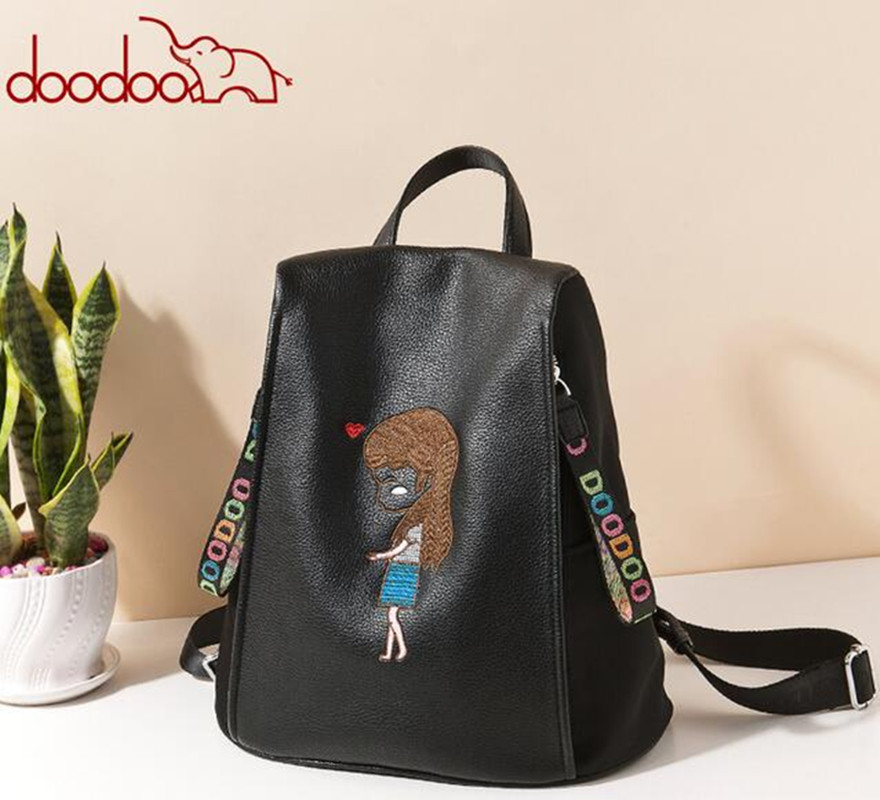 DOODOO Original New Women Embroidery Backpack Softback Travel Backpacks Korean Female PU Leather Women Mochilas FR536 snsd tiffany autographed signed original photo 4 6 inches collection new korean freeshipping 012017 01