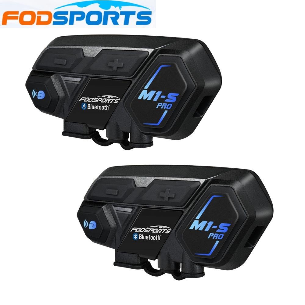 Fodsports 2 Pcs M1-S Pro Motorcycle Helmet Intercom Bluetooth Headset 8 Rider 2000M Intercom Waterproof  Interphone