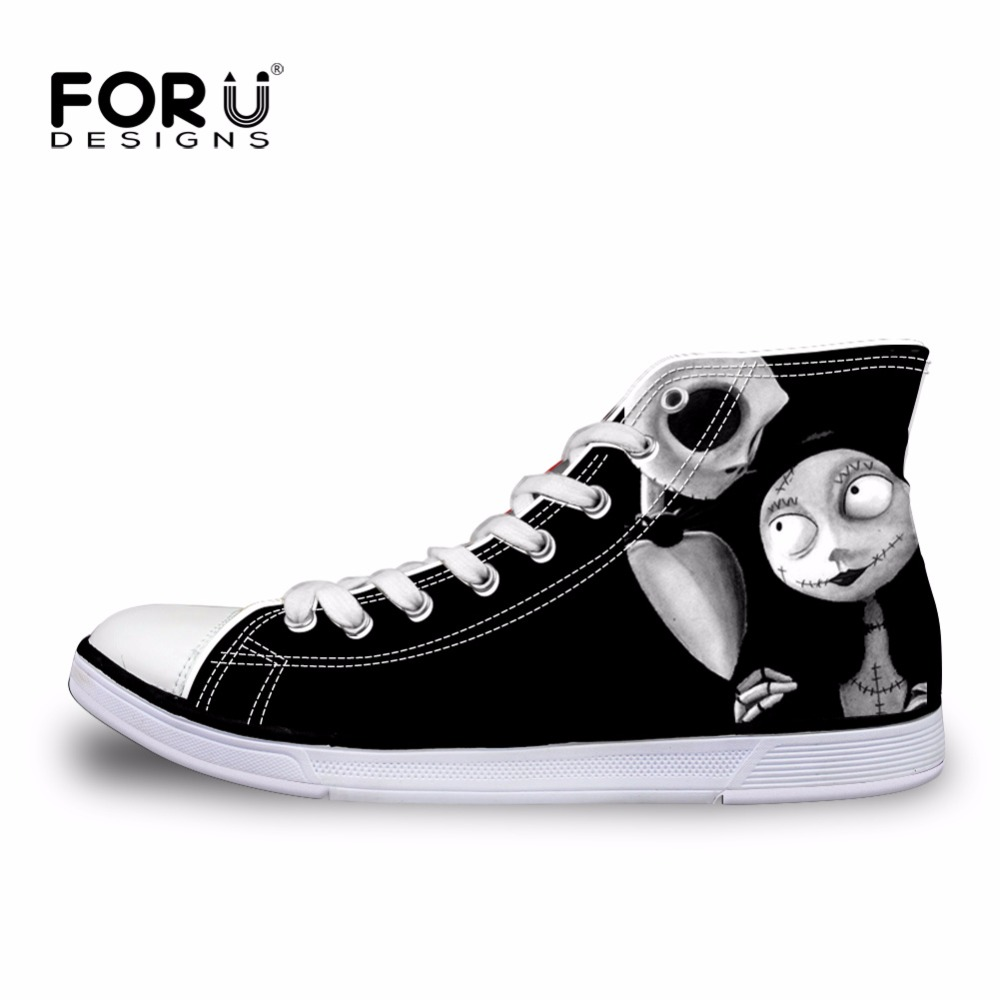 FORUDESIGNS Casual Women High Top Canvas Shoes Vintage Black Punk Skull Design Lace-up Vulcanize Shoes for Female Ladies Flats