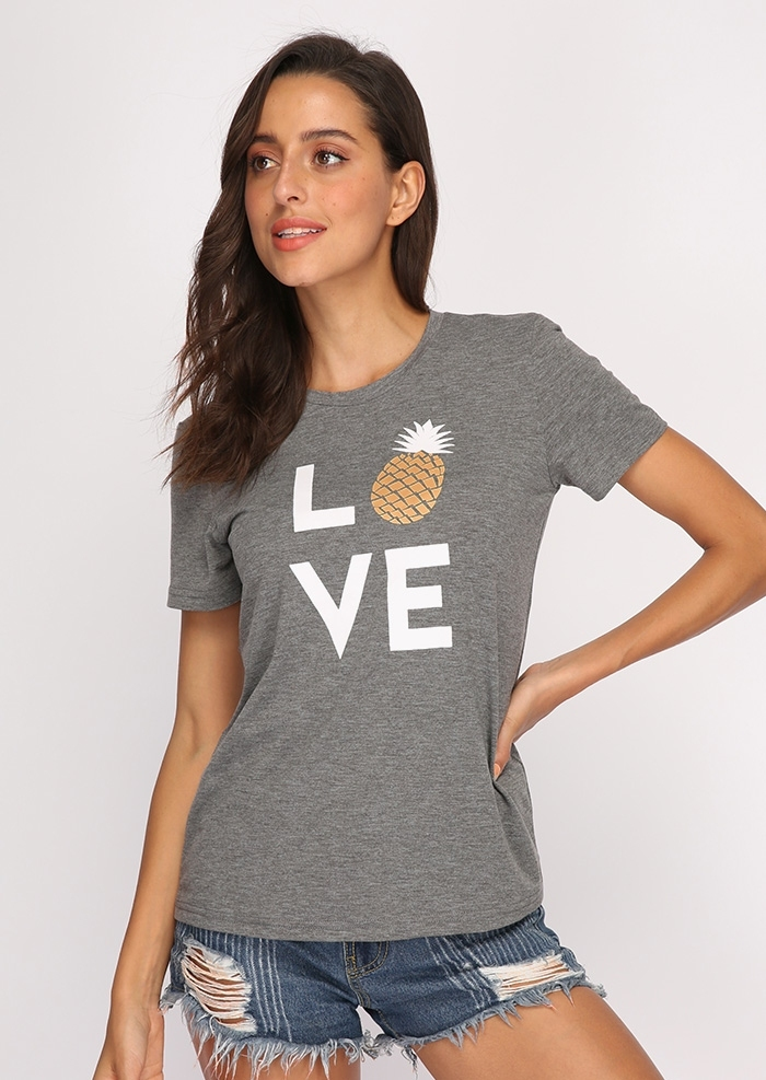 Plus Size Summer Women T-Shirt Toppe Love Ananas Print Grå Top - Dametøj - Foto 2
