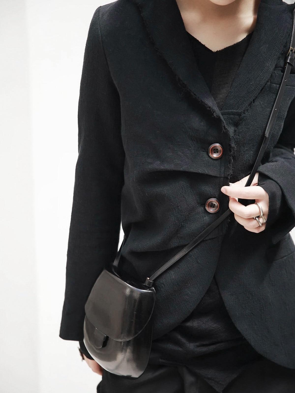 Noir Pli Marée Nouveau Longues Revers De Ji093 Femmes Lâche 2019 Manches Black eam Irrégulière Jacquard Veste Printemps Mode Manteau Ourlet AqCYpTw