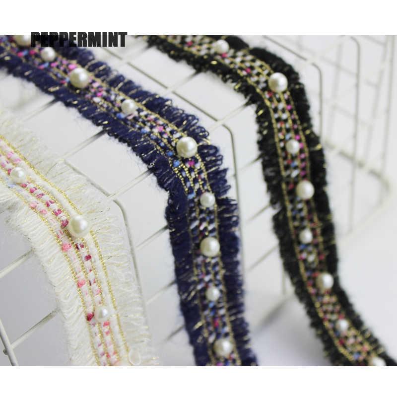 1 yarda reborde de Tweed 3cm oro perla molduras encaje para costura tela de cinta hecho a mano DIY vestido artículos de costura artesanal