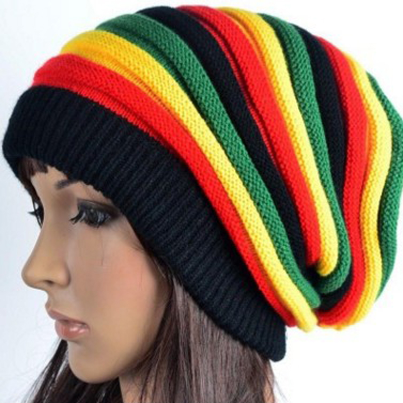 Striped Winter Beanie Hats for Women Men Skullies Bonnet Cap Rainbow Knitted Warm Hats Casual Hip Hop Hat Cap Casquette Gorros 2016 winter women beanie adults hip hop hats diamond vogue men hats knitted ski skullies bonnet crochet casquette gorros de lana