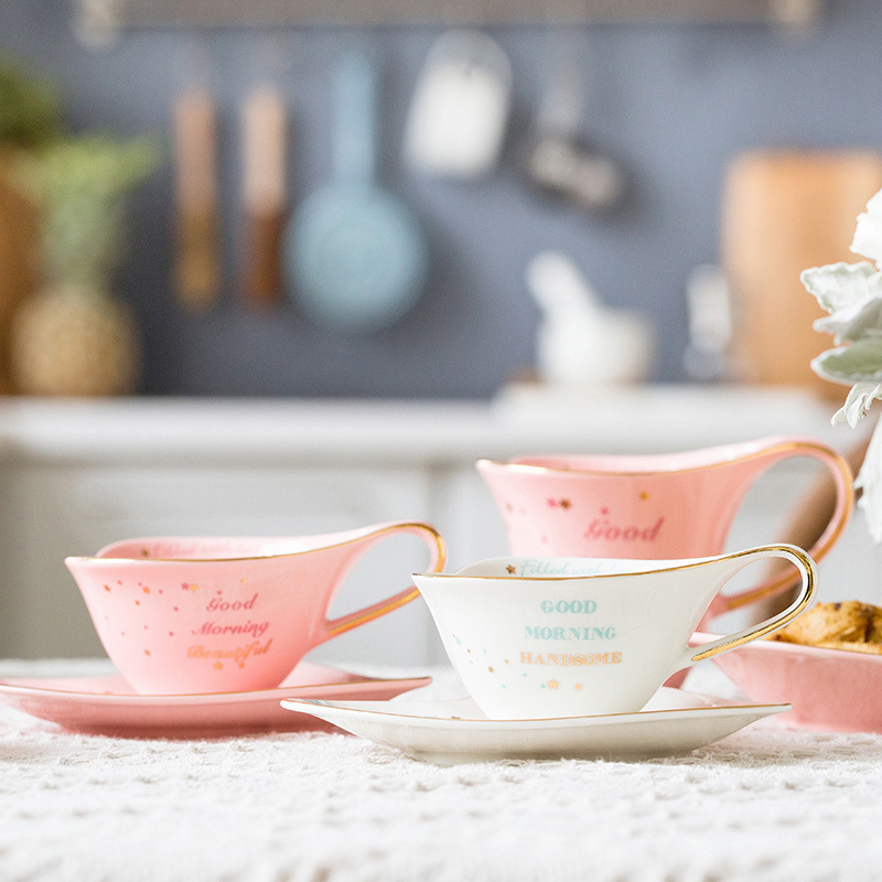 European Gold Ceramic Coffee Cup Plate Set Mark Cup Breakfast Plate Afternoon Tea Set Cake Coffee Cup Travel