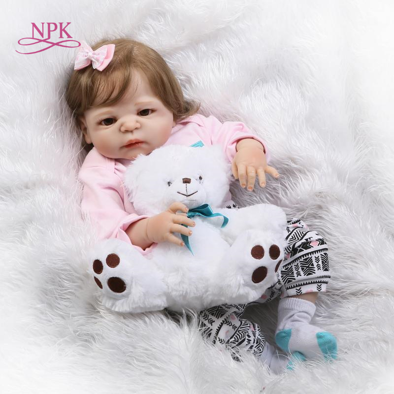 NPK 55cm Silicone Reborn Baby Doll Kids Playmate Gift for Girls Baby Alive Soft Toys for Bouquets Doll Bebe Reborn Toys for boys new ucanaan 50 55cm silicone reborn doll playhouse toys npk doll toys fashion dolls for boys gift the best christmas gift