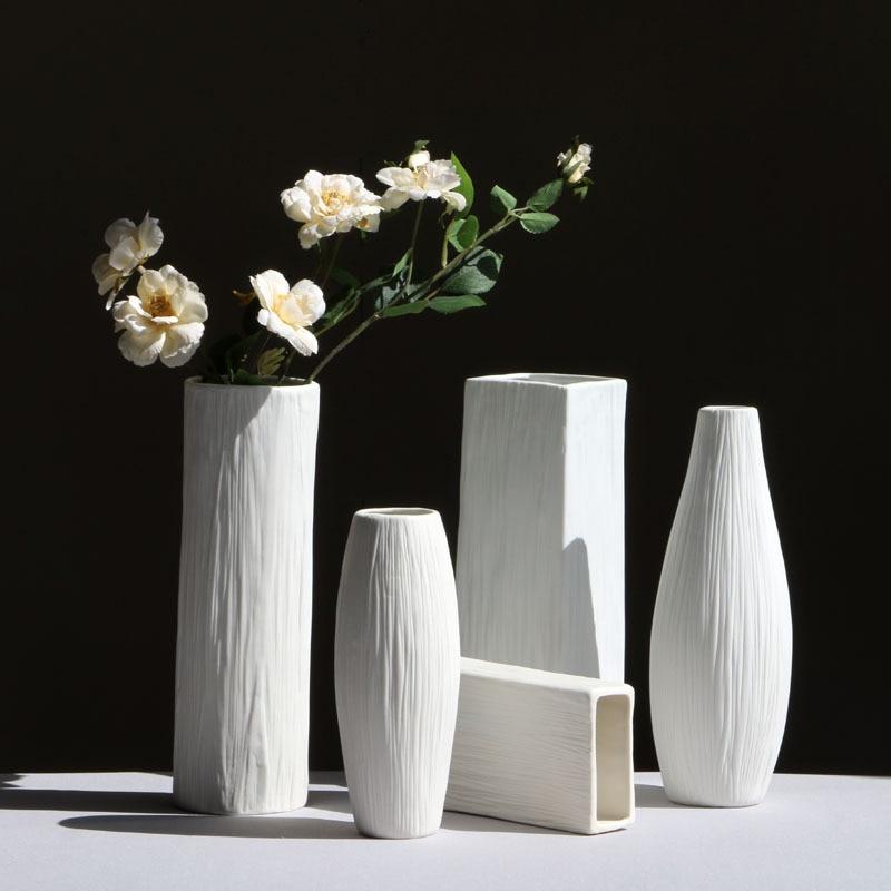 Mode Modern Keramik Vas Bunga Kering Pot Guci Porselen Putih Gaya Sederhana Eropa Kreatif Rumah Tangga Dekorasi Kerajinan Botol Jars Kotak Aliexpress