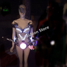 SS4 2 Women sexy stage catwalk wears cosplay music LED costumes ballroom lighted bellydance dress bar