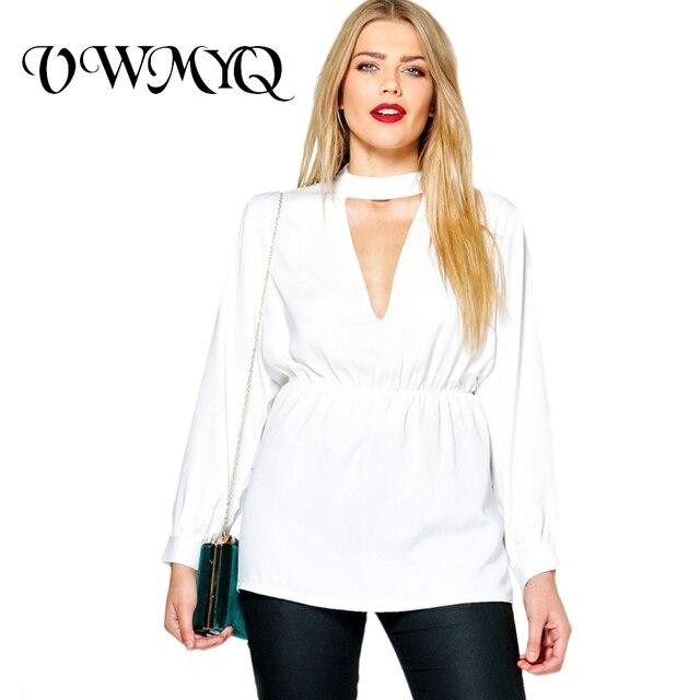 6c034f646eb VWMYQ Women Shirts Plus Size 2017 Fashion V-Neck Tops Solid Long Sleeve  Basic Large Size Elastic Belt Casual Blouse 4XL 5XL 6XL