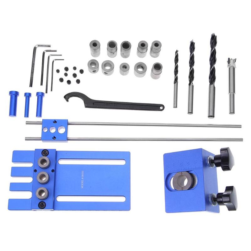 Woodworking Tools DIY Joinery High Precision Dowel Jigs Kit 3 in 1 Drilling Locator Drilling Guide Kit for Woodworking