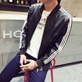 Autumn winter mens PU leather jacket Slim fit motorcycle jacket men coats fashion striped long sleeve leather jackets men TC459