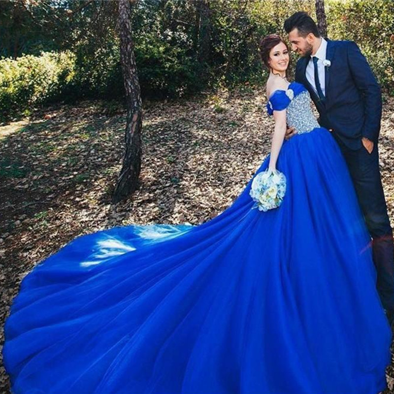 royal blue wedding dresses robe mariage sparkly blue cinderella wedding dress 2017 7161