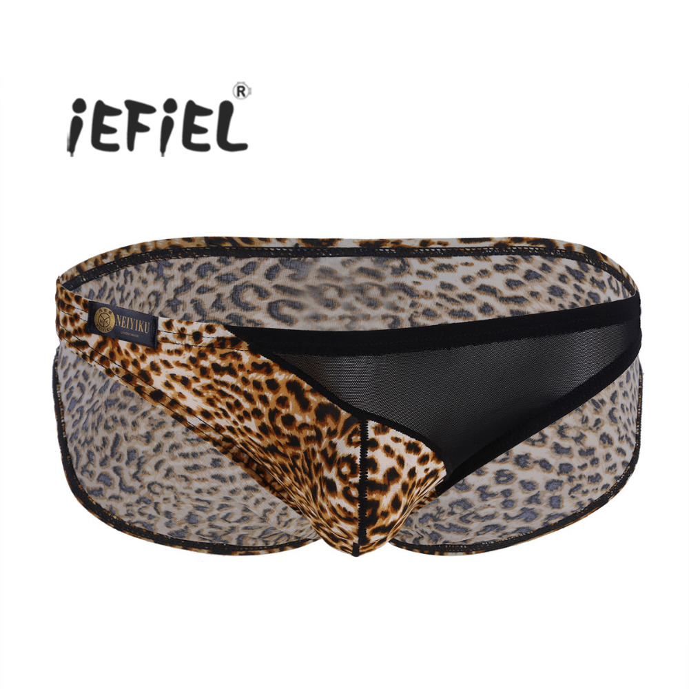 iEFiEL Mens Sexy Lingerie Gay Panties Leopard Print Low Rise Soft Stretchy Bikini Briefs Underwear Underpants with Bulge Pouch