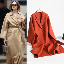 2018 sonbahar ve kış yün ceket kadın kore moda yeni bornoz tarzı bağcık  kemer çift taraflı X-uzun kadın yün palto 0771518ba9f