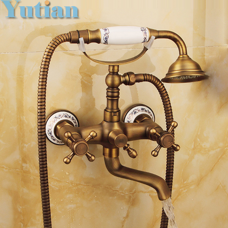 Buy Free Shipping Bathroom Bath Wall Mounted Hand Held Antique Brass Shower