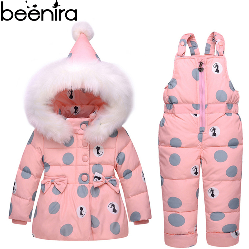 Beenira Kids Sets Baby Winter Down Jacket Set Pants-Jacket Outside Parka Hoodies Outerwear Suits Unisex Polka Dot clothes