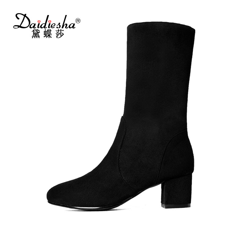 Daidiesha 2017 Women Faux Suede Slip on Stretch Boots Thick High Heel Thigh Boots Over the Knee Fashion Shoes Woman Black