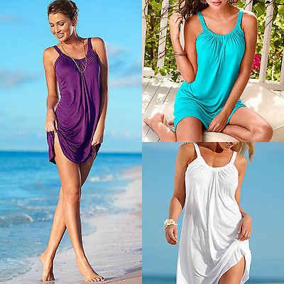 Été femmes robe couleur unie décontracté robes de soirée sans manches lâche plage vacances robe femme Vestidos 2019 mode vêtements