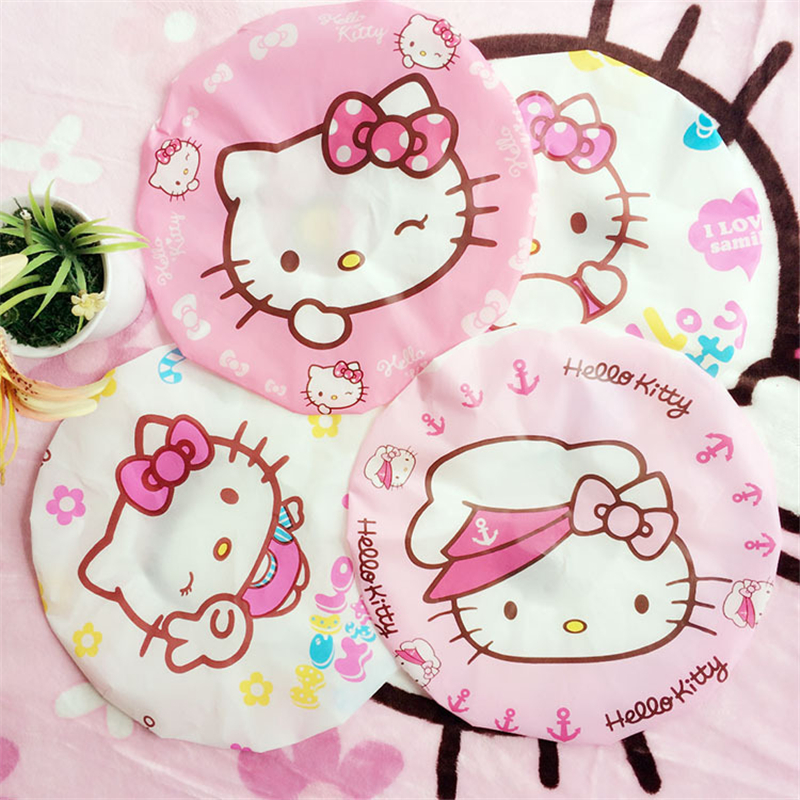 ae3d5d779 2pcs Cute Hello Kitty Transparent Waterproof Shower Cap Dust Cap Elastic  Band Hat Bath Cap for