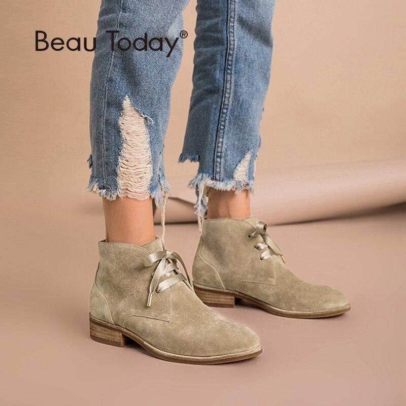 Beautoday mulheres tornozelo botas de couro genuíno vaca camurça fita laço-up botas marca senhora sapatos de alta qualidade 03080