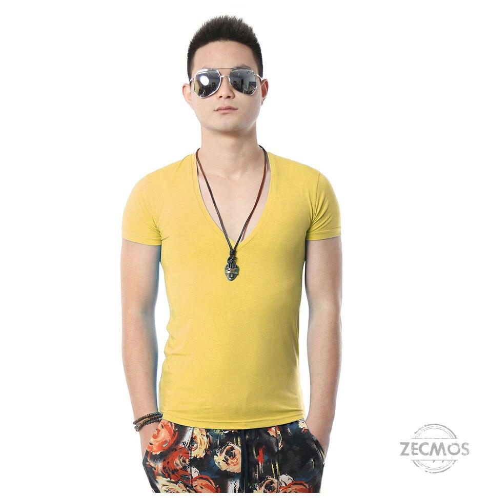 Zecmos Deep V Neck Sexy Men T-Shirt Vintage Short Sleeve Solid Color Muscle Fit T Shirt Men Top Tees Fashion 50