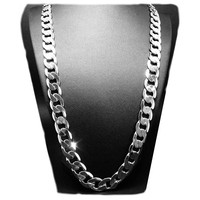 Hot Solid White Gold Filled Cuban Chain Necklace 24 10mm Thick Mens Jewelry